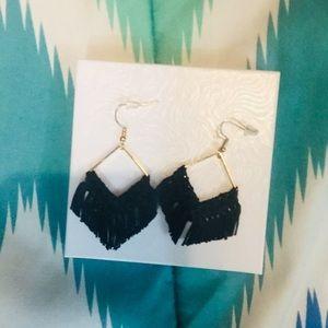 Accessories - Black/Gold Macrame Earrings